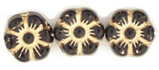 14 Black W Gold Inlay Czech Glass Flower Beads 8MM