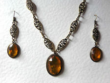 VICTORIAN STYLE GOLDEN YELLOW FACETED OVAL GOLD PLATED MARQUISE NECKLACE SET