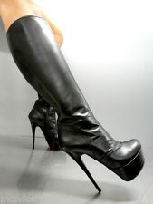 MORI ITALY PLATFORM HEELS KNEE HIGH BOOTS STIEFEL STIVALI LEATHER BLACK NERO 45