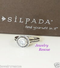 Silpada Perfect Bliss Solitaire Ring CZ .925 Sterling Silver Sz 5 R2076 NEW --'6