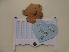 Scrapbooking~Card making~Die Cut~ Premade ~Paper Piecing~ A New Baby ~ Boy ~ Bed