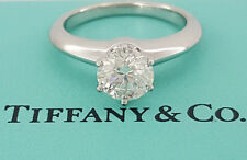 Tiffany & Co 0.91 ct Platinum Round Cut Diamond Solitaire Engagement Ring H /VS1