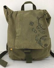 CaseLogic Green Cotton Canvas 13In Laptop Backpack Floral Graphic Overlay Flap
