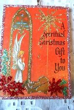 Vintage Image Glittered  Ornament- Angel with Baby Jesus