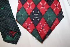 Tommy Hilfiger Vintage Argyle 100% Italian Silk Necktie Tie 80's Style Attire