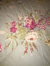 CHAPS Ralph Lauren GREEN W/RED/PINK/BLUE CREAM FLORAL & STRIPE Full Comforter ~