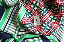 YSL VINTAGE SILK SCARF-Verde / Blu Navy / Rosso Stampa A QUADRETTI-LARGE