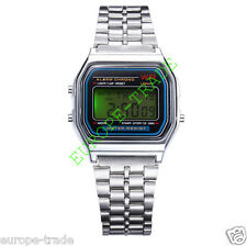 CLASSIC RETRO VINTAGE STYLE SILVER UNISEX DIGITAL METAL LCD WATCH FASHION