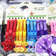 12PCS/Lot Small Dog Collar Bowknot Bell Cat Pet Chihuahua Teacup Dog Wholesale