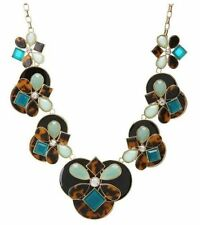 PANSY kate spade NY garden path statement necklace tortoise turquoise FLOWERS