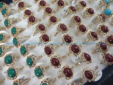 US SELLER- 15pcs vintage gold tone agate faux amber wholesale ring jewelry lots