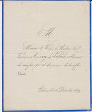 § FAIRE-PART NAISSANCE LOUIS DE VÉLARD - Orléans (Loiret) - 1869 §