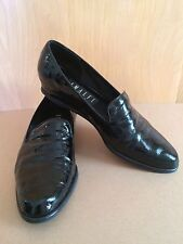 Vintage~Amalfi~Italy~8.5~Narrow~Black~Patent Leather Shoes~Loafers