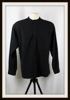 BLACK ~ COLLARLESS LONG SLEEVE GRANDAD SHIRT ~ 100% COTTON ~ S, M, L, XL, XXL