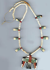 VINTAGE SANTO DOMINGO TURQUOISE AND MIXED MATERIALS THUNDERBIRD NECKLACE