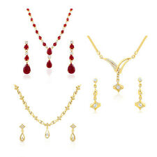 Gold Plated Combo of 3 Jewellery Sets with white Crystals for Women CO210426G