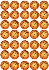 35 BASKETBALL Sports Cup Cake Fairy Edible Wafer Rice Toppers Birthday Stand up