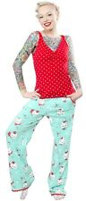 130657 Mint Green & Red Christmas Kitties Set Sourpuss Pajamas XXL 2X-Large