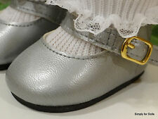 """SILVER Matte-Finish MARY JANE DOLL SHOES fits 18"""" AMERICAN GIRL Doll Clothes"""