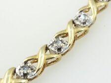 10k Yellow Gold X Round Circle .43 Carat Tennis Diamond Bracelet 7' In