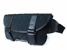 Authentic Gucci GG Pattern Canvas Leather Black Waist Belt Bag GW0745
