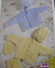 KNITTING PATTERN - TINY SIZES/PREMATURE BABY JACKET, HAT, MITTENS, BOOTEES