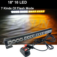 16LED Work Light Bar Beacon Tow Truck Emergency Warning Strobe Light Amber&White