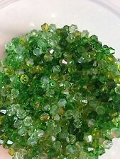 100 Austrian Crystal Glass Bicone Beads Jewellery Making Crafts Green Mix - 4mm