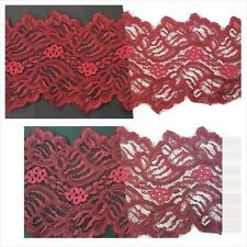 """1 yard 2 tone burgundy double scalloped floral design lace trim 4 1/2"""" W. S4-8"""