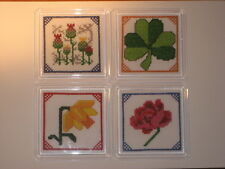 NEW ITA CROSS STITCH FOUR COASTER KIT - National Flowers of the UK  #2
