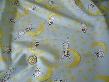 SILK/COTTON PRINT-RABBIT WITH MOON AND STARS-DRESS FABRIC-FREE P&P (UK ONLY)