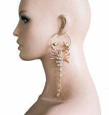 "6.25"" Long Gold Tone Hoop Scorpion Statement Earrings,Drag Queen, Hip Hop"