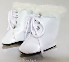 """White Ice Skate with Fur Trim Shoes made for 18"""" American Girl Doll Clothes"""