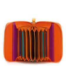 Mywalit Leather Concertina Styled Credit Card Holder Boxed Copacabana Orange