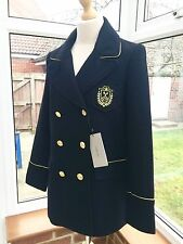 Zara Navy Blue Double Breasted Military Style Wool Coat Size S UK 8