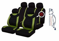 9 PCE Sports Carnaby Green/ Black Full Set of Seat Covers Fiat Panda Brava Bravo