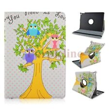 360 Rotating Owl Pattern Leather Case Smart Cover for Apple iPad Air 2 White