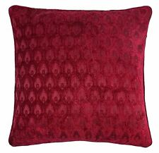 "2 X PEACOCK STYLE RASPBERRY RED SOFT CHENILLE PIPED CUSHION COVER 22"" - 55CM"