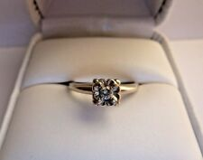 ANTIQUE 0.1 CT NATURAL DIAMOND  14K WHITE GOLD RING  SIZE 5