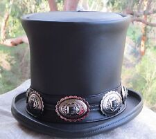 DELUXE GENUINE BLACK LEATHER GUNS N ROSES SLASH STYLE HEAVY METAL MENS TOP HAT