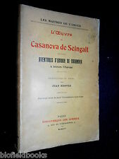L'Oeuvre de Casanova de Seingalt 1914 European Travel, Sexual Adventures Erotica