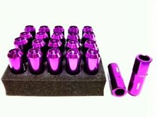 En aluminium forgé wheel lug nut (20) M12 x 1.5mm x 60mm violet 19 mm hex