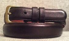 "Coach Black Leather Belt 32 / 80 cm -- 36"" Long - Model 5700 Brass Buckle Skinny"