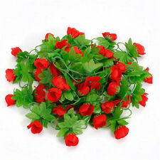 Artificial Ivy Vines Fake Silk Red Rose Flower Garland Wall Home Floral 7.5Ft