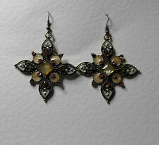 LARGE PALE GREEN CHAMPAGNE BROWN AND CREAM FANCY CROSS EARRINGS DARK GOLD PLATE