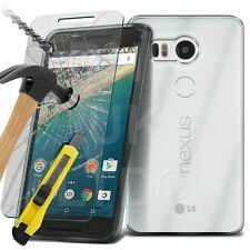 Clear Ultra Thin Slim Gel Case and Glass Screen Protector for LG Nexus 5X