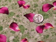Fabric Flower Wavy Petals Fuschia on Green Cotton 2 Yards (+or- an inch)