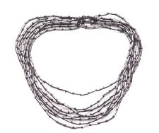 Trendy Gun Metal Multiple Stranded /stretchable Necklace.( Zx72)