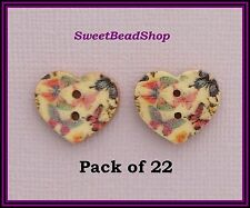 22 Heart Shaped Multi-Coloured Butterfly Print Wooden Craft 16 x 18mm Buttons