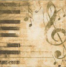 3 Serviettes en papier Cocktail Musique Piano Paper Napkins Music
